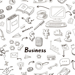 Vector business doodles seamless pattern background with