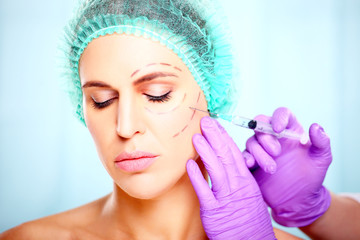 botox injection in woman's face