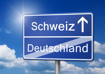 Schweiz Deutschland Schild