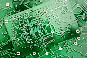 Green PCB close-up shot