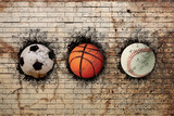 basketball, baseball and soccer