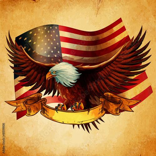 Fototapeta EAGLE FLAG USA VINTAGE