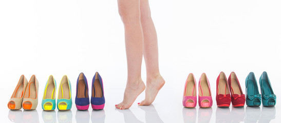 Female legs in fashion shoes