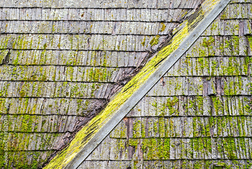 Grunge wooden shingle roof - 81520041