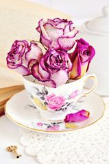 Vintage tea setting with roses