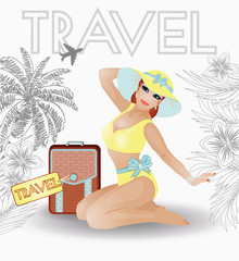 Summer travel pin up young women, vector illustration