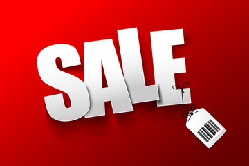 Sale text with barcode hang tag on dark red background