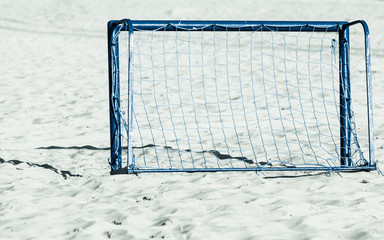 football gate on sandy beach soccer goal