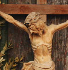 crucified Jesus Christ (wooden statue)
