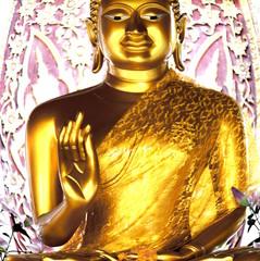 Close up of Thai Buddha golden statue