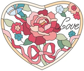 Stained glass window flowers rose heart
