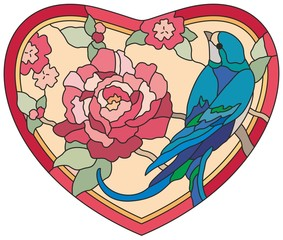Stained glass window Birds flowers heart