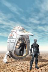 Alien Explorores with spaceship