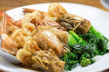 Fried King Prawns Asian Look shrimp with vegetable in plate whit