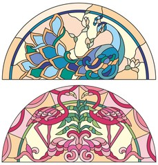 Stained glass window peacock, pink flamingo