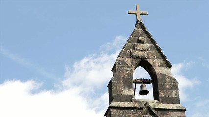 Bell Tower Blue Sky Clouds Beautiful Old Countryside Church