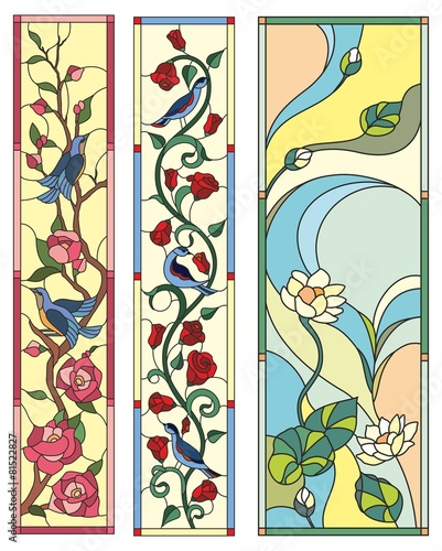 Stained glass window  flowers birds folk