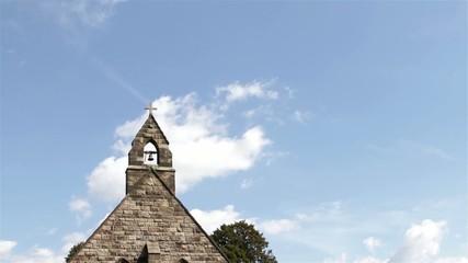 Tilt Beautiful Old Countryside Church Blue Sky Fluffy Clouds
