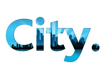 scritta, metropolis, città, parola, skyline