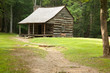 Old log farmhouse with a dirt path