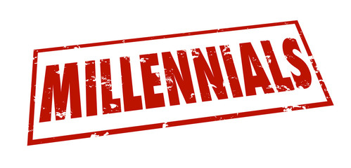 Millennials Word Stamp Grunge Red Ink Youth Marketing Demographi