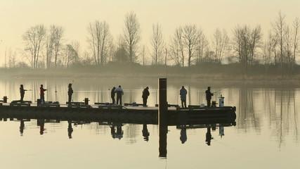 Steveston Harbor Dock Early Morning Fishermen