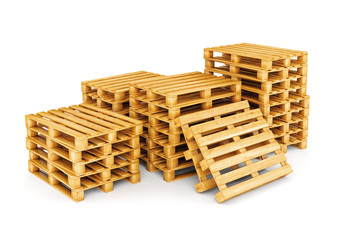 Group of pallets isolated on white
