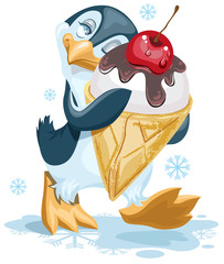 Penguin is an ice cream cone with a cherry