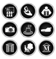 Black and white entertainment related icon set