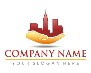 city building structure hand logo image vector