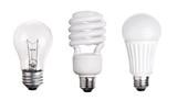 set of Light Bulb LED  CFL Fluorescent  isolated on white backgr - 81528680