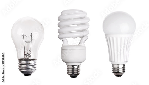 set of Light Bulb LED  CFL Fluorescent  isolated on white backgr - 81528680
