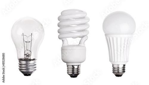 Leinwanddruck Bild set of Light Bulb LED  CFL Fluorescent  isolated on white backgr
