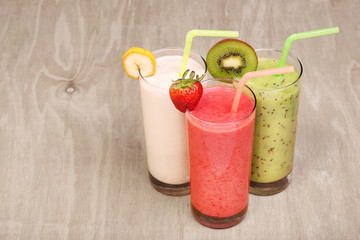 healthy glass of smoothies collection flavor on wood background