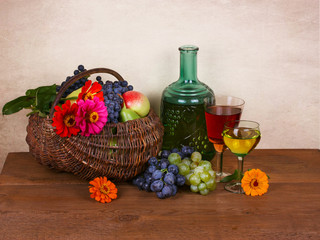 Still life with wine, fruits and flowers