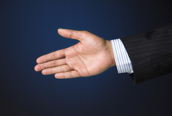 Business executive extending arm to shake hands