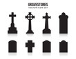 Tombstone silhouette icons isolated on white background - 81529484