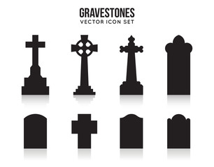 Tombstone silhouette icons isolated on white background