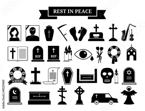 Vector funeral icons - 81529469