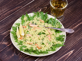 Cous cous salad with salmon