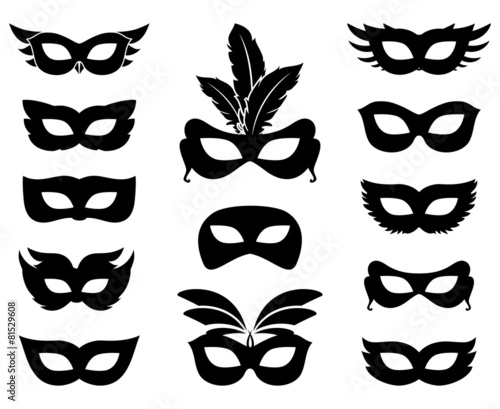 Carnival mask silhouettes - 81529608