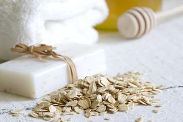 Oat peeling skin care cosmetics closeup