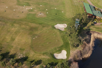 Aerial view over golf field
