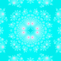 White fractal rosebud pattern on bright blue background