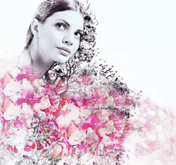 abstract double exposure of attractive woman and petal of roses
