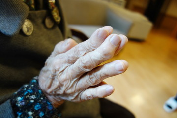 Hand of a hundred-year-old women
