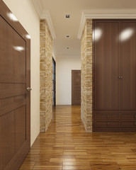 Contemporary hallway with rear doors