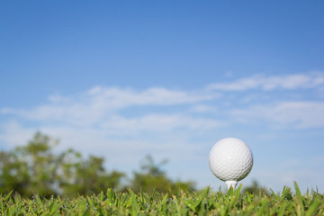 Golf ball with sky background