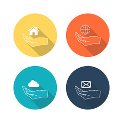 Web icons in hand on color background with long shadow.