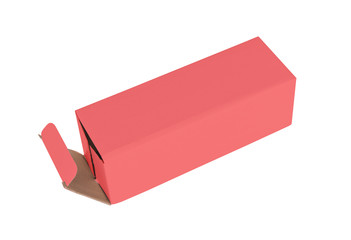 Red cardboard box on a white background